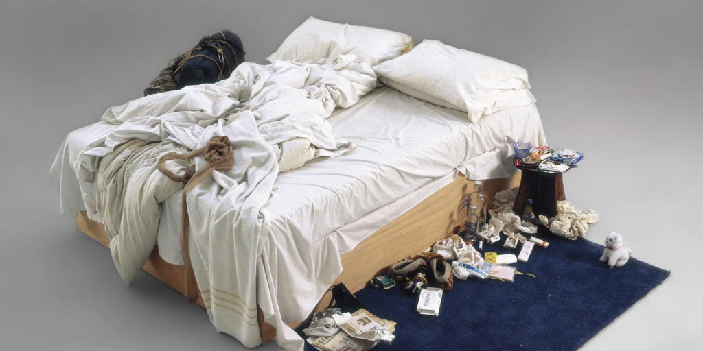 "This handout picture received from Christies auction house on May 27, 2014 shows an artwork entitled ""My Bed"" by British artist Tracey Emin. Tracey Emin's unmade bed artfully littered with condoms, cigarette packs and underwear is expected to fetch around £1 million (1.2 million euros, $1.7 million) at auction. The work, called simply ""My Bed"", cemented Emin's notoriety when it was shortlisted for the 1999 Turner Prize, although the British artist eventually lost out to future Oscar winner Steve McQueen, who directed ""12 Years a Slave"". RESTRICTED TO EDITORIAL USE - MANDATORY CREDIT "" AFP PHOTO / CHRISTIES"" - NO MARKETING NO ADVERTISING CAMPAIGNS - DISTRIBUTED AS A SERVICE TO CLIENTS"