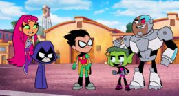 "(L-R) Starfire voiced by HYNDEN WALCH, Raven voiced by TARA STRONG, Robin voiced by SCOTT MENVILLE, Beast Boy voiced by GREG CIPES and Cyborg voiced by KHARY PAYTON in Warner Bros. Animation's Animated Adventure ""TEEN TITANS GO! TO THE MOVIES,"" a Warner Bros. Pictures release."