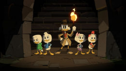 "DUCKTALES - ""The Most Dangerous Game... Night"" - A game night is anything but relaxing as the family faces shrink rays, a barbaric civilization and an unhealthy level of competitiveness. This episode of ""Ducktales"" airs Saturday, October 20 (7:30 - 8:00 A.M. EDT) on Disney Channel. (Disney Channel) LOUIE, DEWEY, SCROOGE, WEBBY, HUEY"